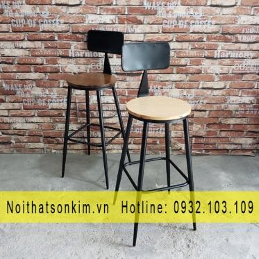 Bàn ghế cafe gỗ chân sắt BGC118