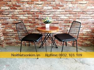 Bàn ghế cafe khung sắt BGC117