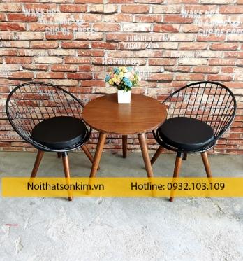Bàn ghế cafe sắt khung tròn BGC114