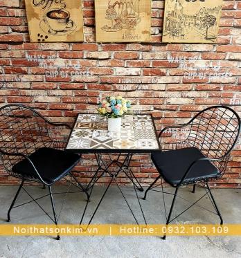 Bàn Ghế Cafe Khung Sắt BGC122