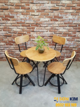 Bàn Ghế Cafe Chân Sắt Mặt Gỗ BGC60