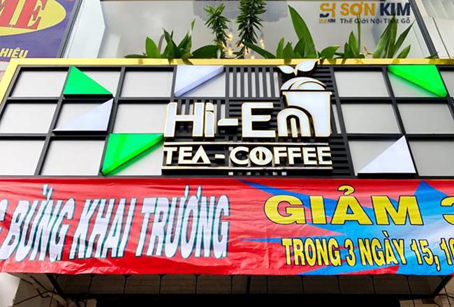 khai trương quán trà sữa Hi-en