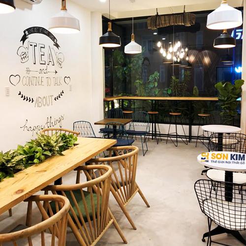 bàn ghế gỗ quán trà sữa