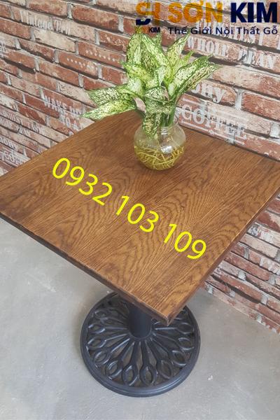 bàn vuông, trụ tròn, mặt gỗ cho quán cafe bc07