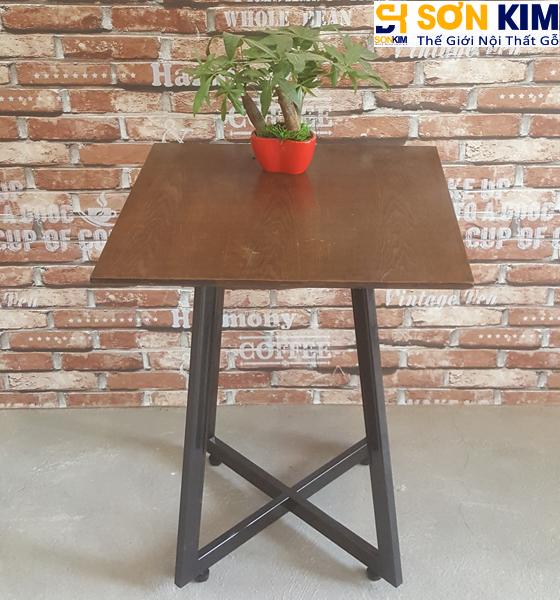 Bàn Cafe Gỗ BC11 Chân Sắt Giá Rẻ Cho Quán Cafe HCM