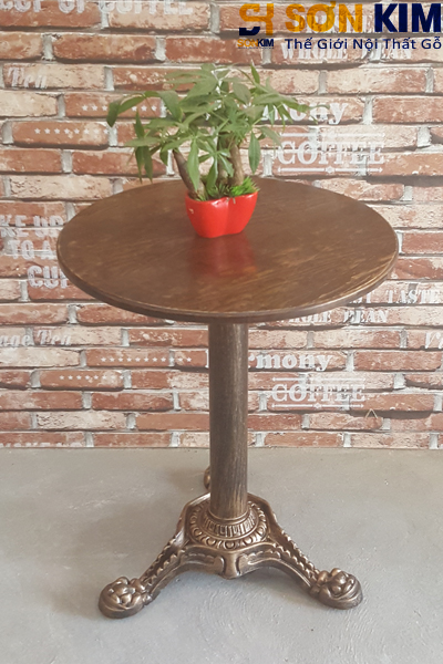 Bàn ghế quán cafe chân sắt mặt gỗ bc15
