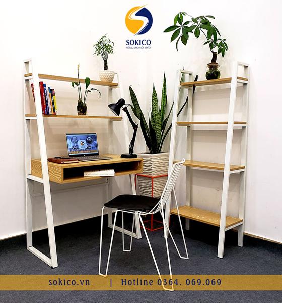 Bàn làm việc Sokico BLV03 bao gồm ghế ngồi và kệ sách 4 tầng