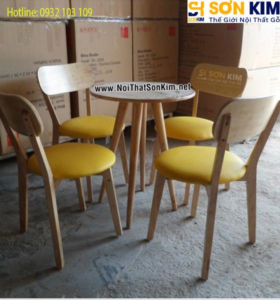 Bộ bàn ghế gỗ quán trà sữa BGC18