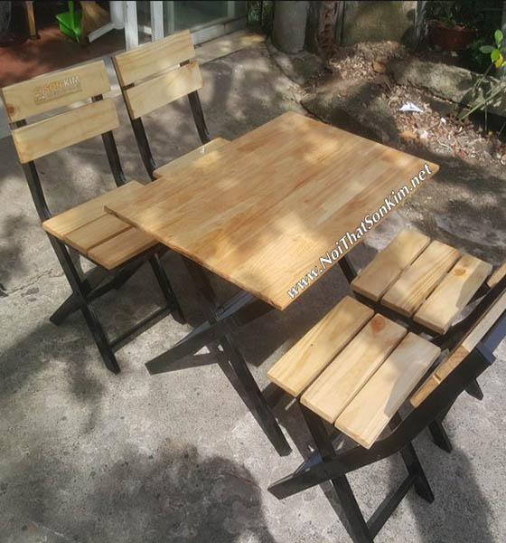Bộ bàn ghế xếp khung chân sắt mặt gỗ BGA20