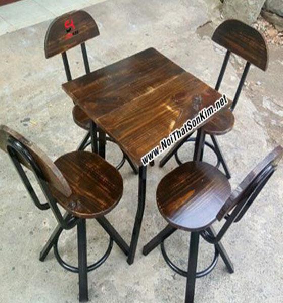 Bàn ghế gỗ Vintage giả cổ BGV01